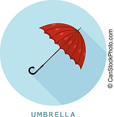 Flat simple icon umbrella on a blue circle. It is easy to change the shape and color. Vector illustration