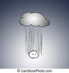 Under The Weather - A sad and depressed cartoon charactor...