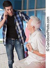 Man calling ambulance