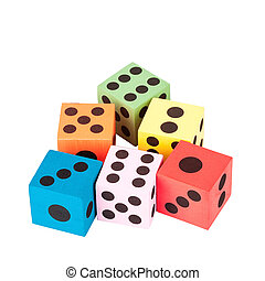 Colorful foam dice isolated on white background