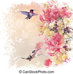 Hummingbirds and Flowers Watercolor - Digital Painting of...
