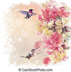 Hummingbirds and Flowers Watercolor - Digital Painting of...