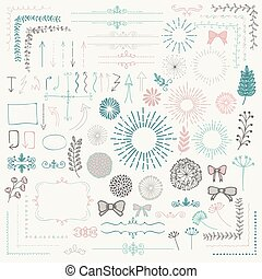 Vector Colorful Sketched Floral Rustic Design Elements -...