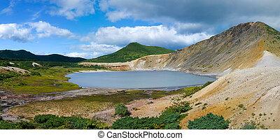 Lake Boiling volcano Golovnina. Island Kunashir, Kurily,...