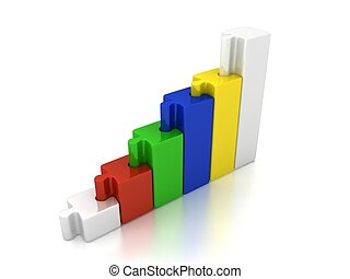 3d abstract chart for company presentation