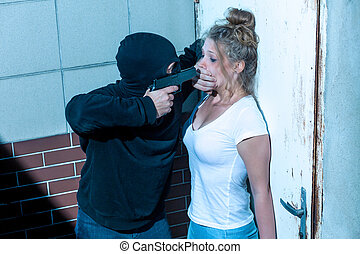 Covering mouth with hand - Kidnapper is covering girls mouth...
