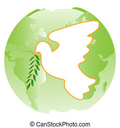 Dove on green planet