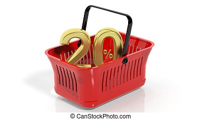 3D rendering of red shopping basket with golden 20% discount...