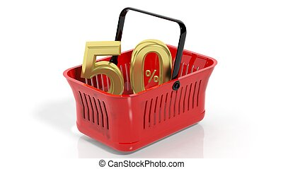 3D rendering of red shopping basket with golden 50% discount...