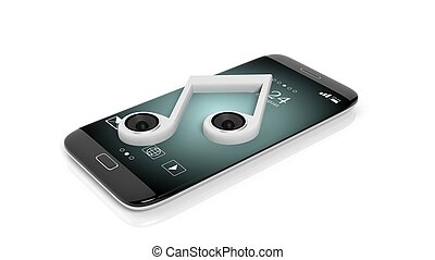 3D rendering of smartphone with musical note with speakers,...