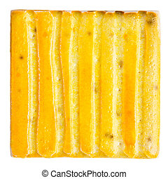 Handmade glazed ceramic tile - Yellow lined handmade glazed...