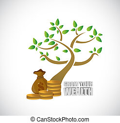 grow your wealth tree and business profits sign concept