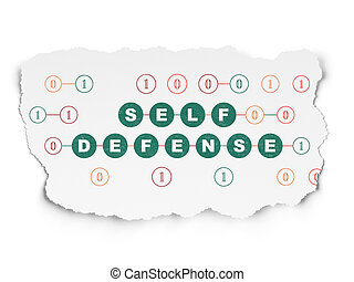 Privacy concept: Self Defense on Torn Paper background -...