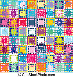 Retro background with colored squares