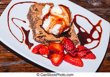Creamy Frozen Brownie With Ice Cream And Strawberry,...