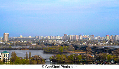 Railway bridge across Dnieper river, Kiev, Ukraine