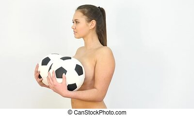 Pretty Topless Girl Surprised against White Background