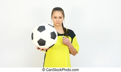 Referee Holding Ball against White Background