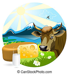 Milk And Cheese - Cow, cheese and glass on background of the...