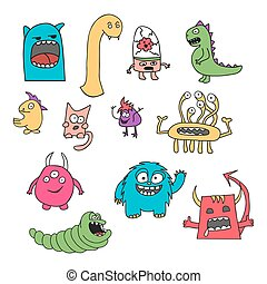 Set of doodle monsters icons