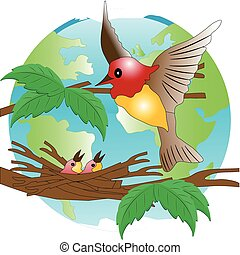 Nestling - Bird on jack on background of the globe