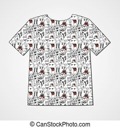 Abstract hand drawn doodle monsters. Colorful print on a...