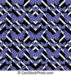 Geometric Butterflies Pattern - Digital photo collage...