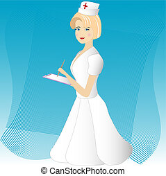 Nurse in white robe in note pad and handle