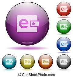 E-wallet glass sphere buttons - Set of color e-wallet glass...