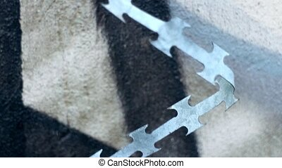 piece of razor barbed wire - pieces of barbed razor wire...