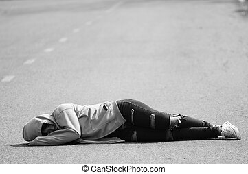 Sad and Lonely Girl Sleeping on the Road