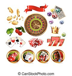 Big Set of Casino Gambling Elements and Icons Including...