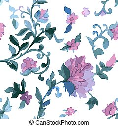 Watercolor paisley seamless background. - Watercolor Paisley...