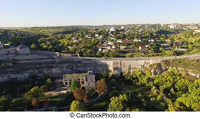 Aerial view Flying camera over of the old castle Ukrine...