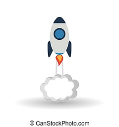 rocket icon over white background, vector illustration