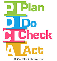 PDCA Abstract Colorful Stripes - PDCA text over abstract...