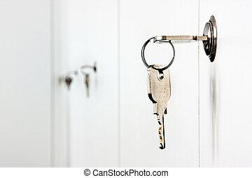 trancadas, escritório, gabinetes