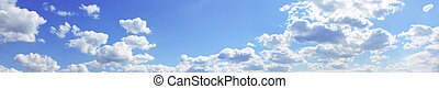 Blue cloudy sky - Panorama of the blue cloudy sky