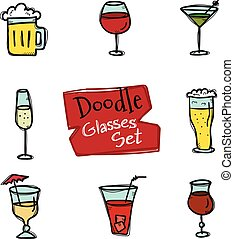 Vector doodle style glasses icons set Hand drawn collection...