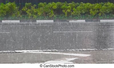 Heavy Monsoon Rains on a Deserted Section of Highway in...