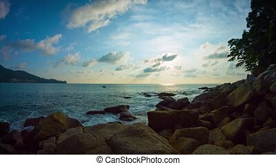 Boulders on a Rocky Tropical Beach Paradise at Sunset. video...
