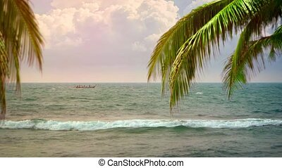 """Local Longtail Boat at Anchor off a Tropical Beach - """"Local..."""