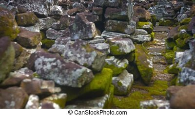 quot;Rubble from the Ancient, Crumbling Stone Walls of a...