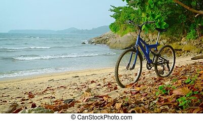 Blue Mountain Bike on a Rocky Tropical Beach - Blue,...
