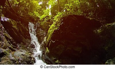 Beautiful Natural Waterfall in Tropical Wilderness, with...