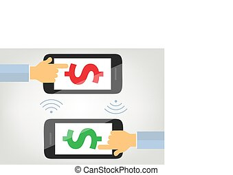 money transfer with mobile phone concept illustration