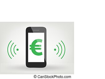 smart phone / mobile phone icon with euro sign,  wireless symbol
