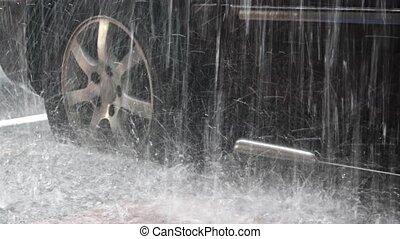 tung, regna, på, a, parkerad, bil, med, hög,...
