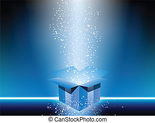Blue gift box with stars.