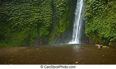 """Natural Waterfall Tumbles down Rocky Precipice to Muddy..."